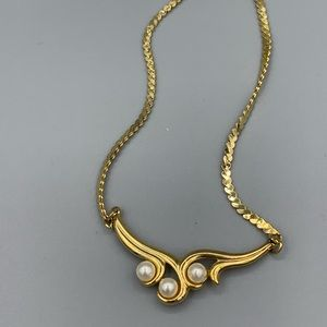 Gold & Pearl Wave Necklace with Gold Tag